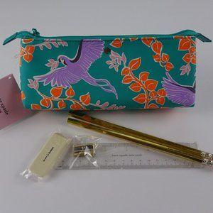 Kate Spade BIRD Party Pencil Case Pouch Set New